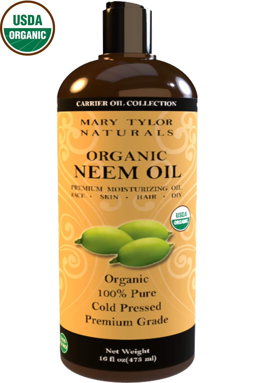 Organic Neem Oil (16 oz), USDA Certified, Cold Pressed, Unrefined, Premium Quality, 100% Pure Great for Skincare and Hair Care by Mary Tylor Naturals
