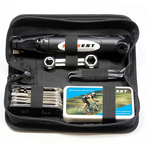 Mini Bike Pump & Tire Puncture Repair Kit & Multi-Function Bike Bicycle Cycling Mechanic Repair Tool Kit & Cycling Bicycle Bike Bag ()