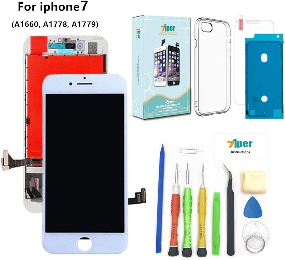 Screen Replacement for iPhone 7 (4.7 inch) - 3D Touch LCD Complete Repair -LCD Touch Digitizer Display Glass - Free Cover,Waterproof Adhesive,Tempered Glass,Tools,Instruction (White)