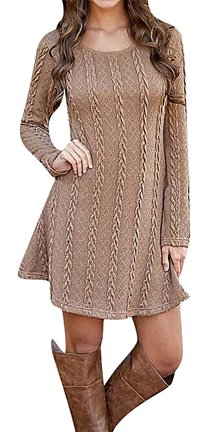 Maze, Women's White Brown Long Sleeve Braid Texture Round Neck Pullover Dress
