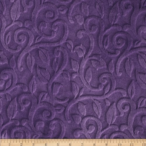 Shannon Fabrics EZ-414 Shannon Minky Embossed Vine Cuddle Violet Fabric by The - Quilt Fabric Violet