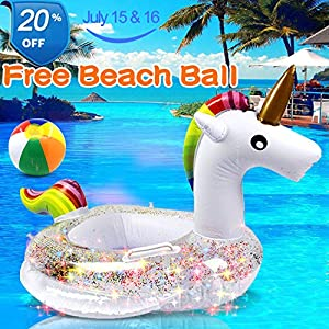 Unicorn Baby Swimming Pool Floats with Glitters Safety Handle & Seat, Inflatable Swim Ring Pool Toys for 1-4 Years Toddlers Kids Girls Family Summer Outdoor Party Favor