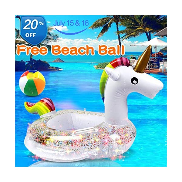 Unicorn Baby Swimming Pool Float with Canopy, Glitters Seat & Safety Handle, 2021 Summer baby floats for pool… 3
