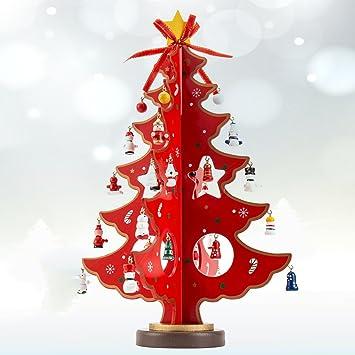 Hotbesteu Weihnachtsbaum Holz Tannenbaum Kreatives Weihnachtsdeko  Weihnachtsbaumschmuck DIY Weihnachten Haus Tisch Deko (rot, 36cm