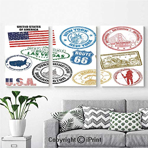 Canvas Prints Modern Art Framed Wall Mural Grunge Stamps of America Las Vegas New York San Francisco Hawaii Illustration for Home Decor 3 Panels,Wall Decorations for Living Room Bedroom Dining Room