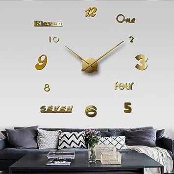 reloj de pared Chinatera Moderna Mute Bricolaje Grande Etiqueta 3D decoración de la Oficina en casa Regalo Negro (Color : Oro): Amazon.es: Hogar