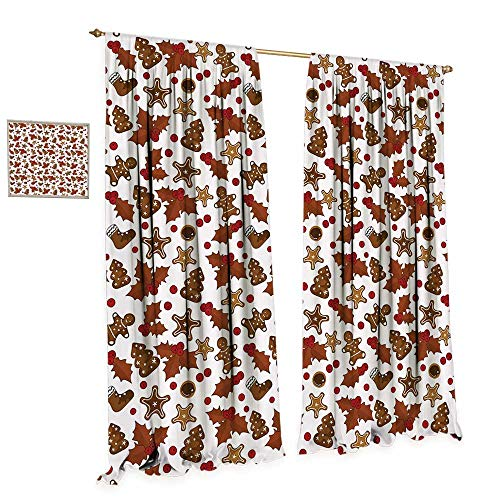 cobeDecor Christmas Patterned Drape for Glass Door Holly Berries Gingerbread Man Cookies Cartoon Style Winter Season Holiday Waterproof Window Curtain W72 x L84 Redwood Red Brown
