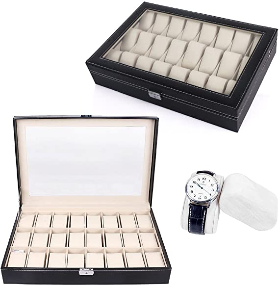 Relojes Caja para 24 relojes Buzón Memoria, anillos, collares ...
