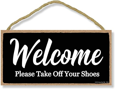 Welcome Take Off Shoes Novelty Wooden Hanging Plaque Home Door Hanging Sign Gift