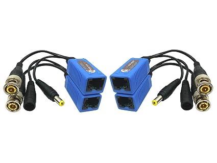 1 Pairs CCTV Coax BNC Video Power Balun Transceiver to CAT5e 6 RJ45 Connector YR