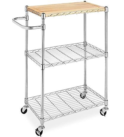 Marvelous Whitmor Supreme Kitchen Cart With Wheels Wood U0026 Chrome