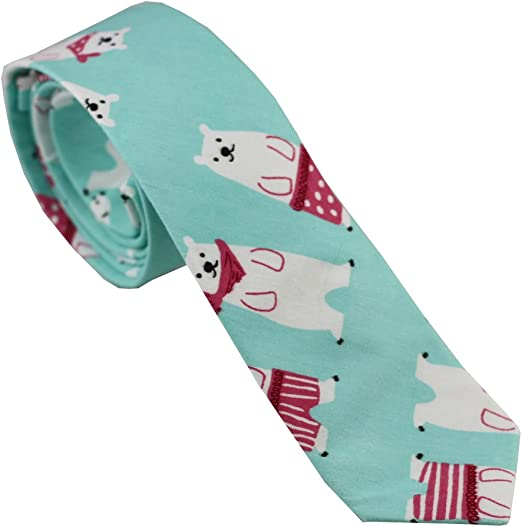 Coachella Ties Grey Bear Pattern Cotton Necktie Skinny Tie Pocket Square Bowtie