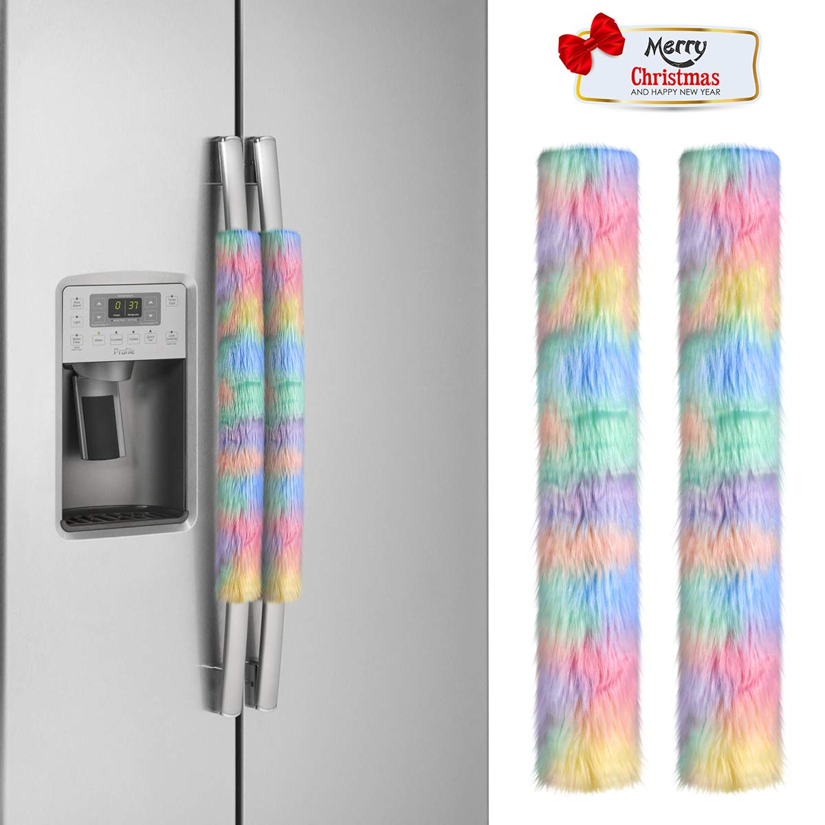 """yuboo 2 Pcs Christmas Rainbow Refrigerator Door Handle Covers, Kitchen Appliance Handle Covers Christmas Decoration for Refrigerator Microwave Oven Dishwasher 15.7""""x 4.7"""""""