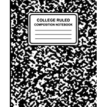 """College Ruled Composition Notebook: Marble (Black), 7.5"""" X 9.25,"""" Lined Ruled Notebook, 100 Pages, Professional Binding"""