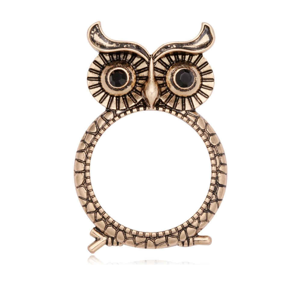 RUXIANG Ring Owl Bird Crystal Magnetic Eyeglass Holder Pin Brooches Clothes Jewelry (owl)