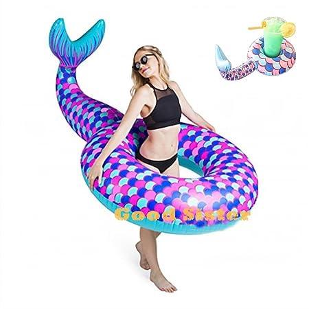 Lady of Luck Inflable Sirena, Gigante Sirena Flotador Anillo de Natación Hinchable Colchoneta Los Juguetes Acuáticos para Verano Piscina de Playa: ...