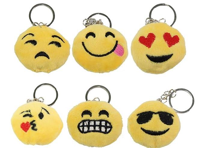 Amazon.com : Set of 6 ~ Emoji happy Face Keychain Key Chain ...