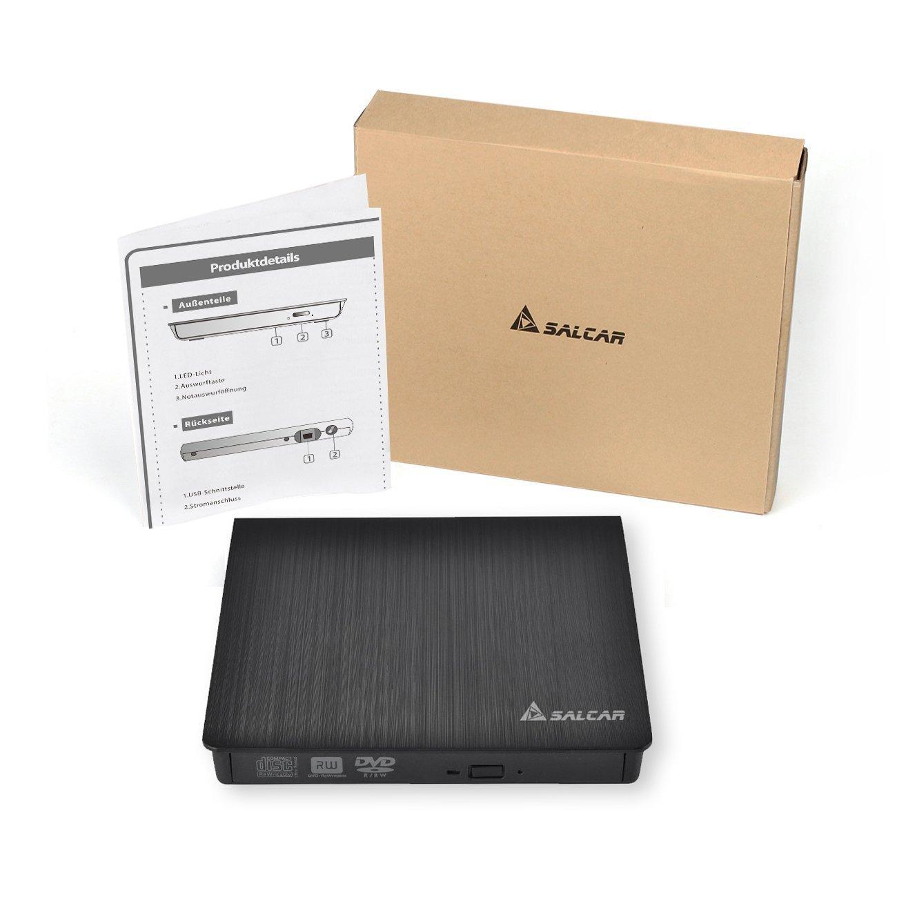 Salcar- Externa USB 3.0 Lectora/grabadora de DVD CD Lector de DVD Externo USB 2.0/3.0 DVD Quemar CD-R CD-RW DVD-R DVD-RW 100% Nuevo Chip para Apple MacBook ...
