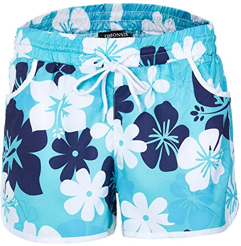 New Women's Floral Boardshort Elastic Waistband Beach Shorts With Drawstring (Large, Blue) (Simple Drawstring)
