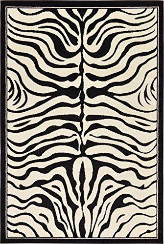 Unique Loom Wildlife Collection Zebra Border Animal Beige Area Rug (6
