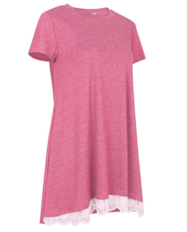 Womens Lace Tunic Top Sweatshirt Long//Short Sleeve Blouse A-Line Flowy T-Shirt Dress