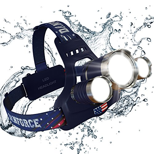 DanForce Headlamp, Brightest Head Lamp Providing 1080 Lumens with 3 Original Led. 2 Powerful Rechargeable Batteries, Maximum Comfort Headlamps For Outdoor & Indoor, With Red Light. (Blue)