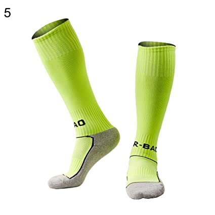 ZHOUBA niños Calcetines de fútbol Infantil Antideslizante Calcetines de compresión de Largo Alta elástica fútbol Calcetines