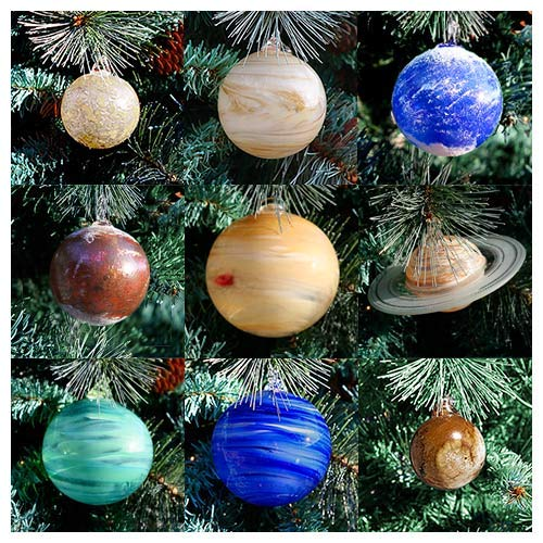 Blown Glass Solar System Ornament Set, 9 Planets with Sun! ()