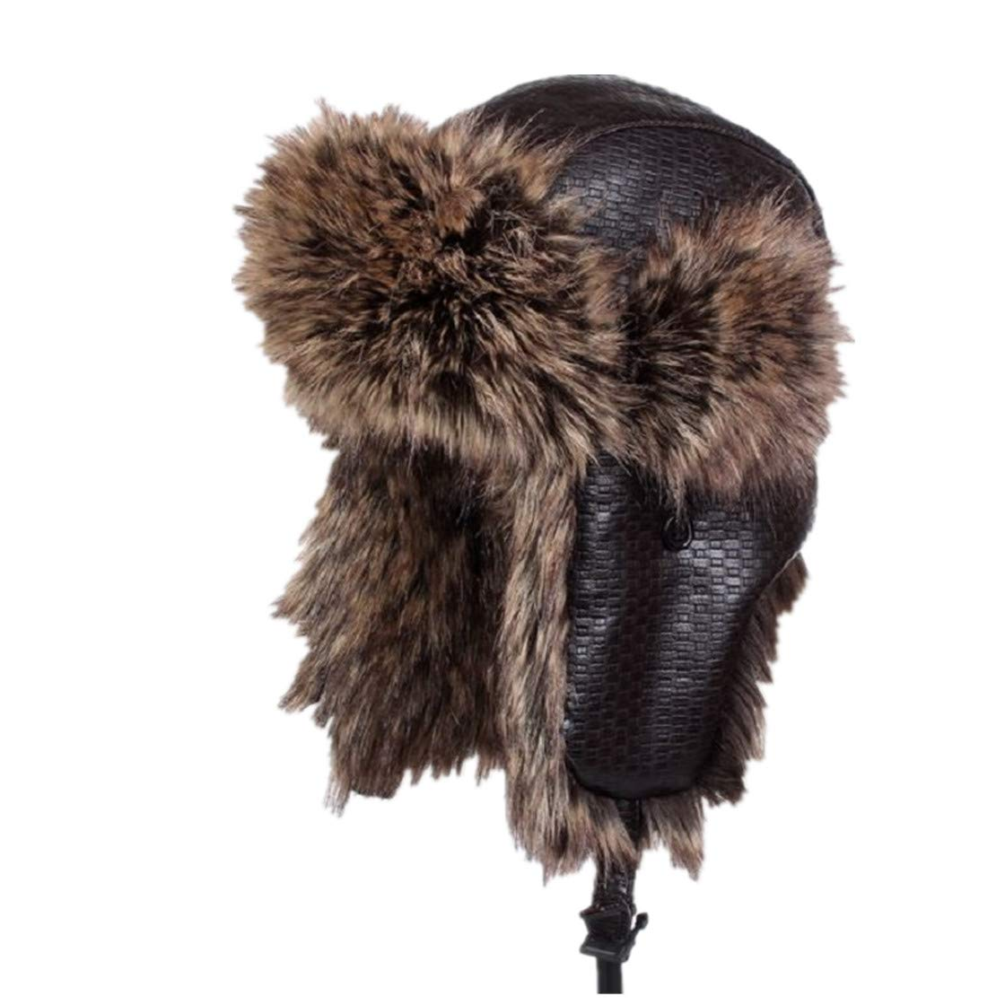 Unisex Winter Solid Color PU Bomber Hat Waterproof Earflap Thicken Thermal Cap