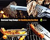 """Grill Tongs - 20% THICKER STAINLESS STEEL WON'T BEND - Dishwasher Safe 17"""" Long Handle Protects from BBQ Heat - Locking Bracket For Easy Storage - Cooking in Kitchen or on Weber Barbecue - Cave Tools"""