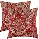 pack of 2 calitime cushion covers throw pillows cases shells both sides vintage damask floral 18 x 18 inches burgundy - Red Decorative Pillows