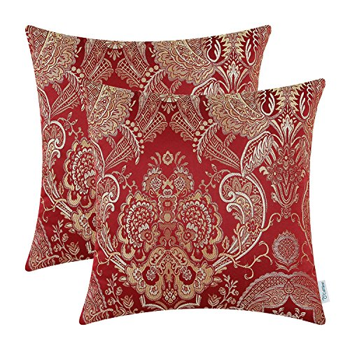 Pack of 2, CaliTime Supersoft Throw Pillow Covers Cases for Couch Sofa Home Decor, Vintage Damask Floral, 18 X 18 Inches, Burgundy (Pillows And Accent Gold Red)
