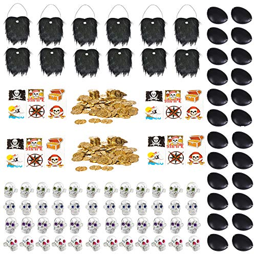 Swashbuckling Pirate Booty - 252 Pieces: 24 Pirate Tattoos, 24 Eye Patches, 12 Pirate Beards, 144 Plastic Gold Coins, 48 Assorted Skull Rings- Party Favors, Décor, Supplies, Stocking Stuffers, Easter Baskets, Prizes, Treasure Boxes