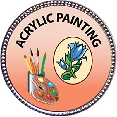 Keepsake Awards Acrylic Painting Award, 1 inch Dia Silver Pin Artistic Skills Collection: Toys & Games