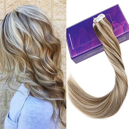 - [Hot Sale]LaaVoo 16 inch Tape Blonde Invisiable Real Human Hair Extensions Highlights Color Ash Brown Fading to Light Blonde Silky Straight Gule in Hair Extension 20Pcs 50g/Package (#P8/60)