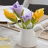 Kriva Bloom – Napkin Holders for Tables, Set of 4 Green Stemmed Plastic Twist Flower Buds Serviette Holders Plus White Napkins for Making Original Table Arrangements