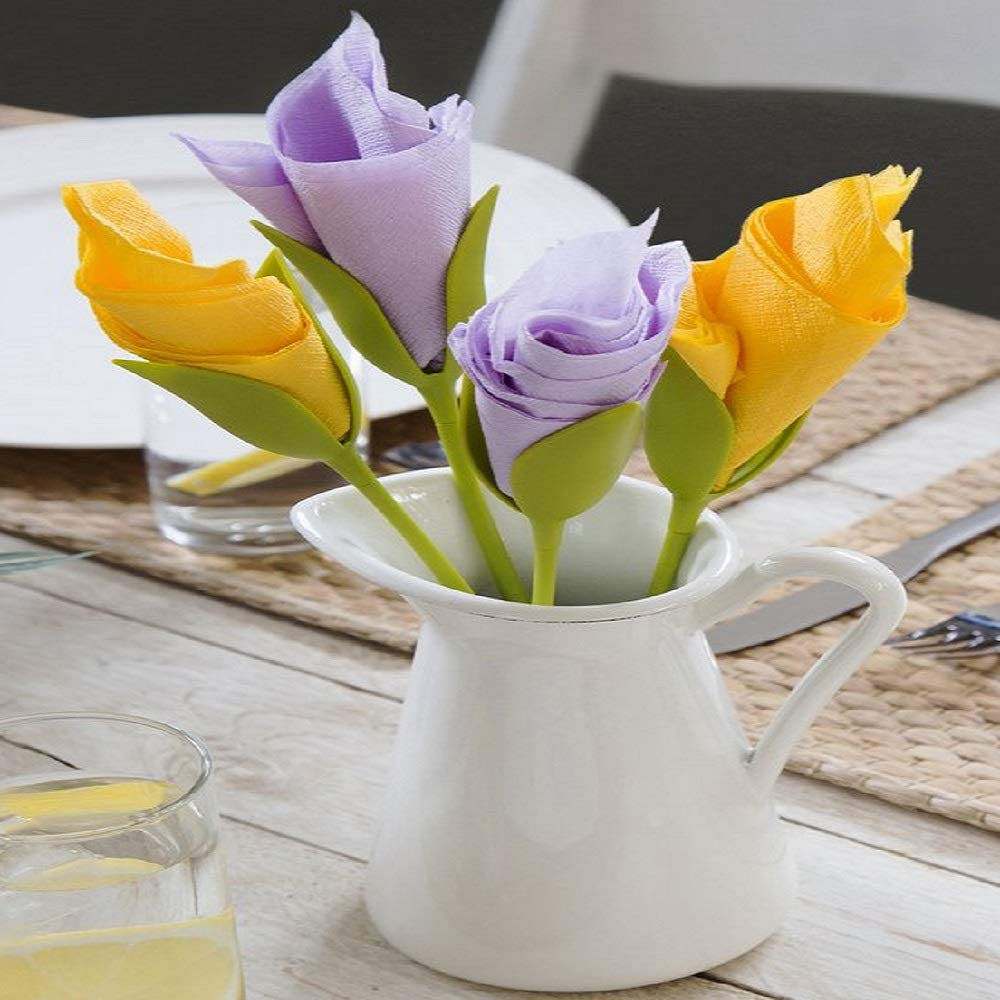 Buy Kriva Bloom – Napkin Holders for Tables, Set of 4 Green Stemmed Plastic  Twist Flower Buds Serviette Holders Plus White Napkins for Making Original  Table Arrangements Online at Low Prices in