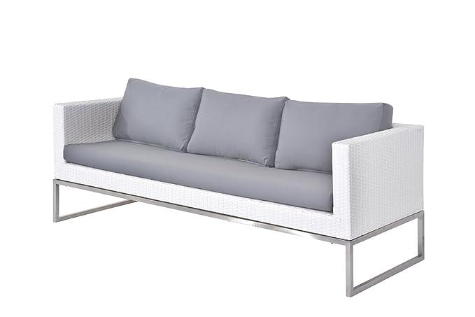 Amazon.com : Velago 35371 Capriasca Patio Sofa, White, Gray ...