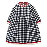MIRRAY Toddler Kids Baby Girls Dresses Winter Knitted Sweater Long Sleeve Lattice Crochet Cute Dressing Tops Casual O-Neck Comfortable Knitwear Clothes Knee-Length
