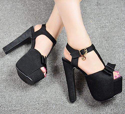 negro 15 de 3 cm de 696 tacon de alto estilo sandalias Nuevo XiaoGao wYqf7H1