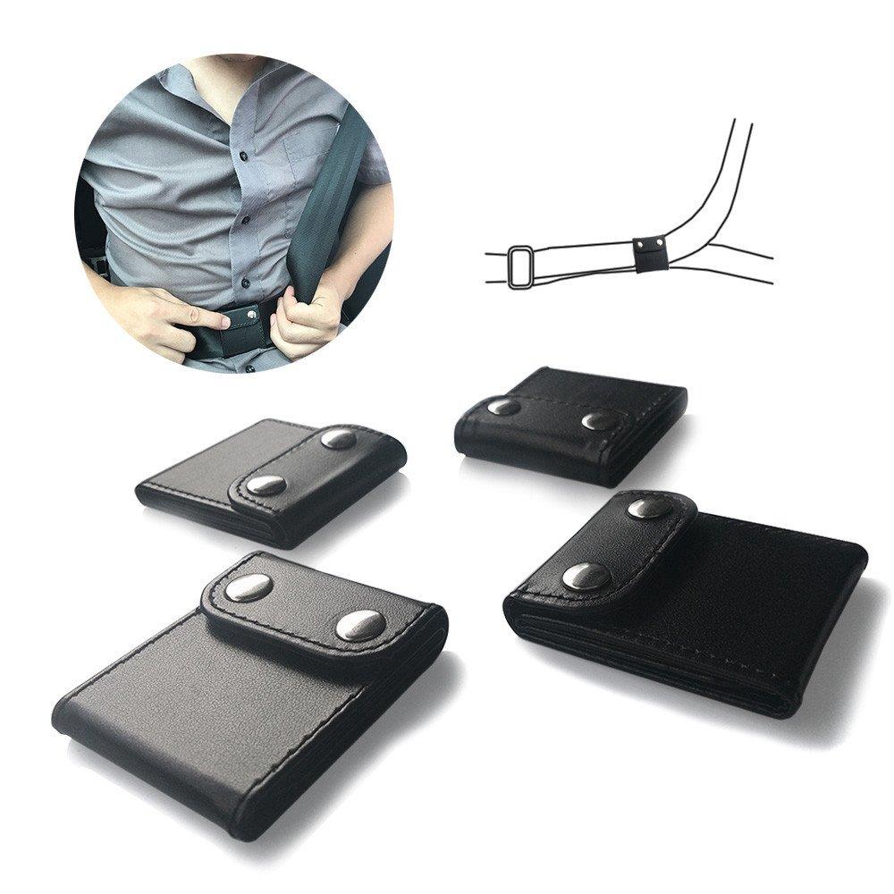 ILIVABLE Seat Belt Adjuster, Comfort Auto Shoulder Neck Protector Locking Clip Covers, Vehicle Car Belt Positioner (Black, 4 Pack)