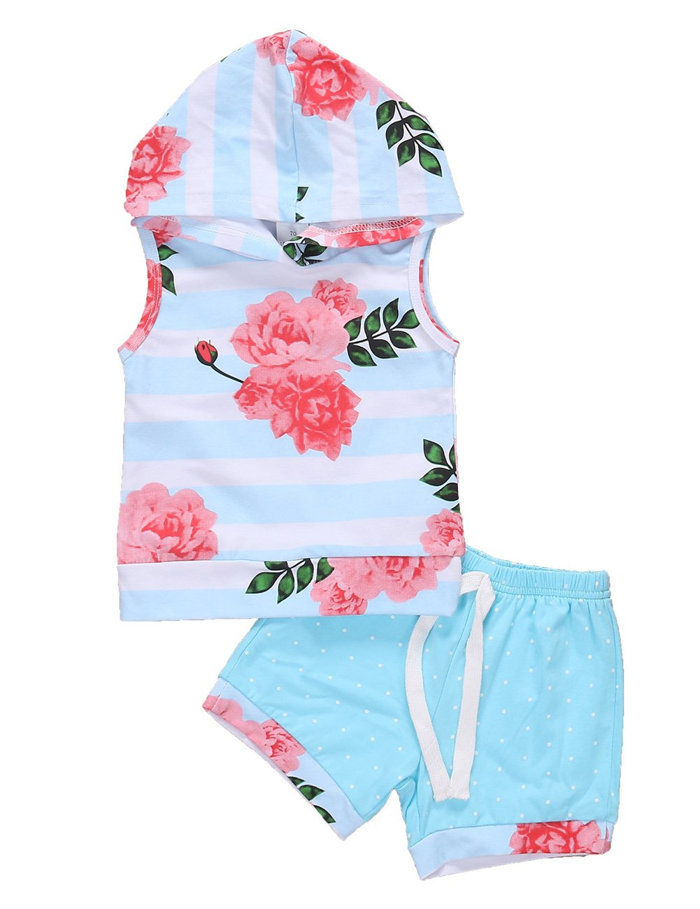 Pudcoco Toddler Baby Girls Sleeveless Flower Striped Hoodie Top and Elastic Shorts Outfit Set (12-18M, Blue)