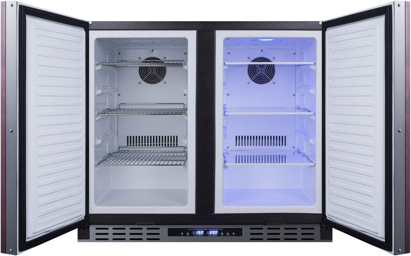 Fan-forced Cooling 5.8 cu.ft Capacity ADA Compliant Digital Thermostat Factory Locks LED Lighting Frost-free Operation Summit Appliance FFRF36IFADA Side-By-Side 36 Wide Refrigerator-Freezer