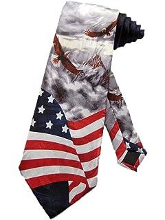 a4472aac565 Steven Harris Men s American Bald Eagles USA Flag Necktie - Grey - One Size Neck  Tie