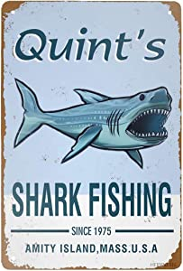 Retro Tin Signs Vintage Style Art Jaws 80s Movie Poster Shark Fishing Metal Sign Iron Painting for Indoor & Outdoor Home Bar Coffee Kitchen Wall Decor 8 x 12 INCH