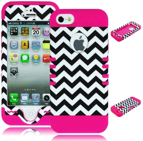 Bastex Heavy Duty Hybrid Case for iPhone 5, 5S, 5th Generation - Pink Silicone/Black & White Chevron Hard Shell