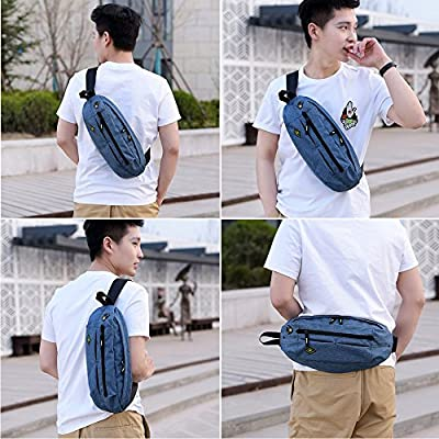 Hulorry Sports Chest Bag Shoulder Sling Backpack Travel Crossbody Bag with Earphone Hole & USB Charging Holefor Bicycle Sport Hiking Travel Camping Travel Outdoors from Hulorry