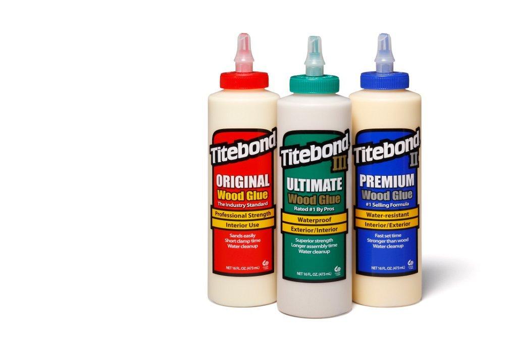 Titebond Set de 3 tubes de colle à bois Titebond Original Wood Glue, Titebond III Ultimate Wood Glue et Titebond II Premium Wood Glue 3 x 473ml Titebond III Ultimate Wood Glue et Titebond II Premium Wood Glue 3 x 473ml