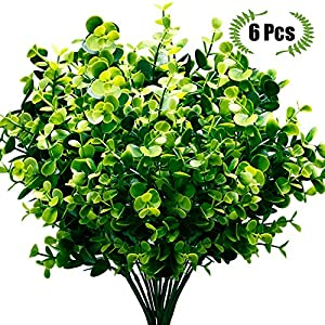 TEMCHY Artificial Fake Flowers,UV Resistant Faux Greenery Foliage Plants Shrubs for Garden, Wedding, Outside Hanging Planter, Farmhouse Indoor Outdoor Decor 6