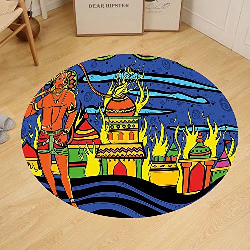 Gzhihine Custom round floor mat Psychedelic Ethnic Spiritual Faith Prince Eastern Tribal Ancient Oriental Bohemian Image Bedroom Living Room Dorm Orange Blue by Gzhihine